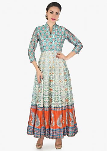 470f650e42d Long dress featuring in cotton silk with multi color print only on Kalki