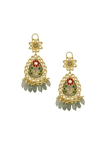 Lush Kundan Polki Earrings With Fluorides And White Shell Pearls Along With Hydro Ruby And Emerald Flower Online - Joules By Radhika
