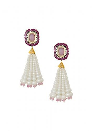 Lush Shell Pearl Earrings With Rose Quartz, Hydro Rubies And Delicate Swarovski Stones  Online - Joules By Radhika