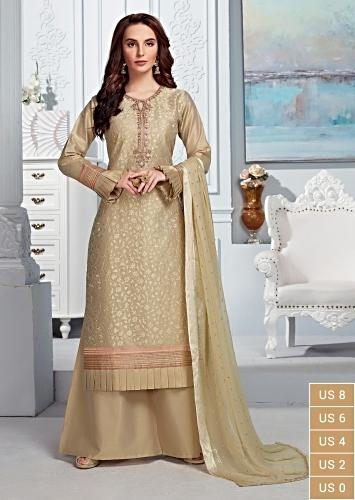 Gold Beige Palazzo Suit In Cotton Silk With Self Thread Embroidered Floral Jaal And Zardozi Work Online - Kalki Fashion