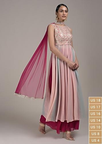 Peach A Line Suit With Shaded Mint Effect And Abla Embroidery Online - Kalki Fashion