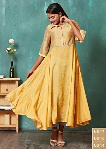 Amber Yellow Anarkali Suit With Moroccan And Floral Print Online - Kalki Fashion