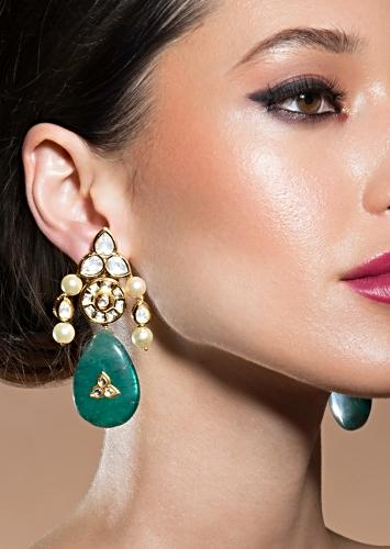 Classic Kundan Polki Earrings Ornamented With Shell Pearls And Onyx Drops Online - Joules By Radhika