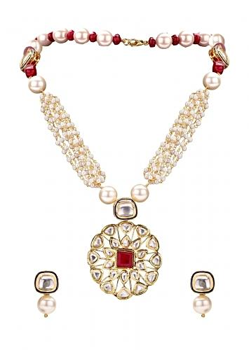Gold Plated Necklace And Earrings Set With Kundan Pendant And White Pearls Online - Joules By Radhika