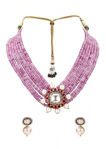 Pink Agate Beads Multi Strand Classic Kundan Necklace Set With Hydro Rubies And Pearls Online - Joules By Radhika