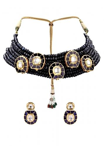 Graceful Necklace Set With Dark Blue Agate Beads And Kundan Online - Joules By Radhika