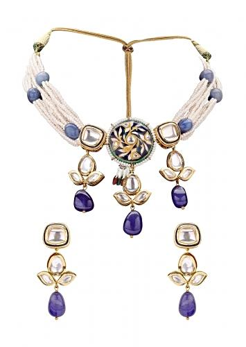 Sparkle Earring And Necklace Set Layered With Shell Pearl And Blue Agates Online - Joules By Radhika
