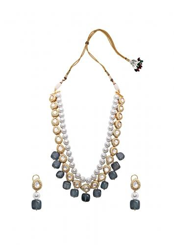 Blue Grey Pearl Necklace Set With Authentic Meenakari, Kundan ANd Agate Drops Joules By Radhika