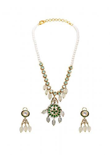 Green and White Necklace Set With Jades, Vibrant Hydro Emeralds And Dangling Shell Pearls Joules By Radhika