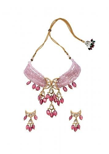 Pink Beaded Necklace Set Embellished With Kundan, Vibrant Jades And Stunning Agate Beads Joules By Radhika