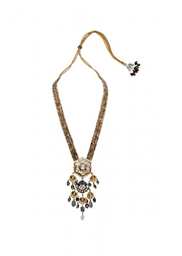 Grey And Gold Tone Long Necklace With An Elaborate Meenkari, Kundan Pendant Strung On Agate Bead Strings Joules By Radhika