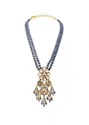 Blue Beaded Necklace With Elaborate Kundan Pendant Adorned In Hydro Rubies, Shell Pearls And Jades Joules By Radhika