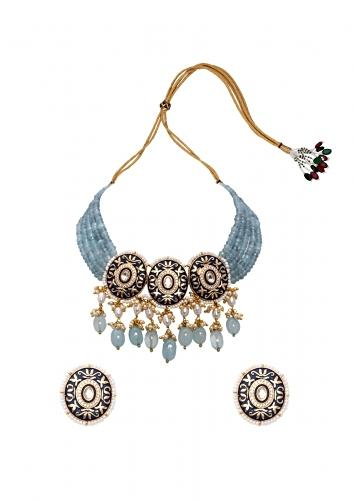 Blue Necklace Set With Handcarved Meenakari, Agate Bead Strings And Dangling Freshwater Pearls Joules By Radhika