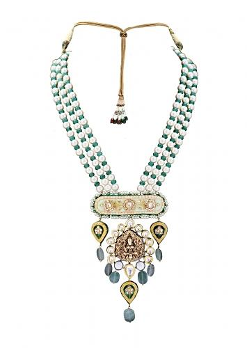 Ethnic Necklace Made With White Shell Pearls, Green Jade And Antique Gold Goddess Pendant  Online - Joules By Radhika