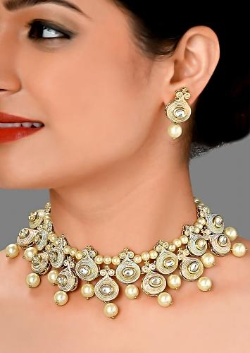 Gold Plated Earrings And Necklace Set With Shell Pearls, Imitation Polki And Meenakari Online - Joules By Radhika
