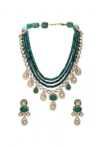 Teal green Festive Earring And Wedding Necklace Set With Kundan And Layered Bead Strands Online - Joules By Radhika