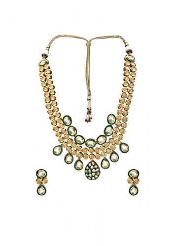 Gold Plated Kundan Earring And Necklace Set With Green Enamelling  Online - Joules By Radhika