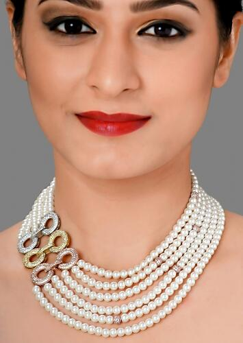 Multi Layered White Pearls Classic Necklace With Swarovski Brooch  Online - Joules By Radhika