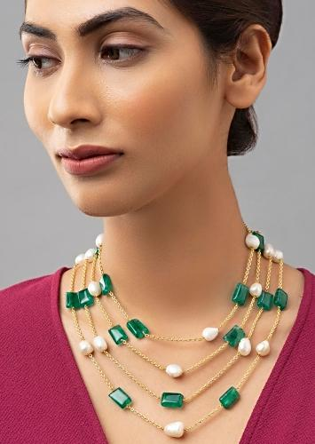 Multi Layer Chain Necklace Accented With Green Jades And White Baroque Pearls Online - Joules By Radhika