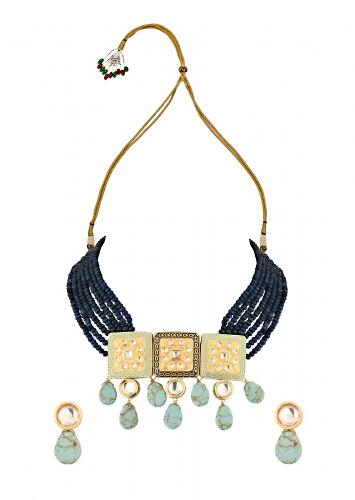 Turquoise Drops Necklace And Earrings Set With Kundan, Enamel Work And Dark Blue Agate Bead Strands Online - Joules By Radhika