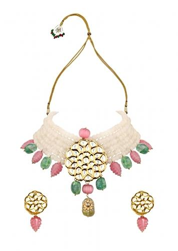 Off White Choker Necklace And Earrings Set With Green And Pink Beads And Kundan Pendant Online - Joules By Radhika