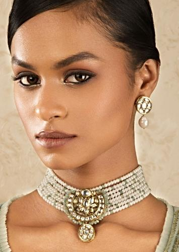 Off White Necklace And Earrings Set With Kundan, Green Beads And Shell Pearls Online - Joules By Radhika