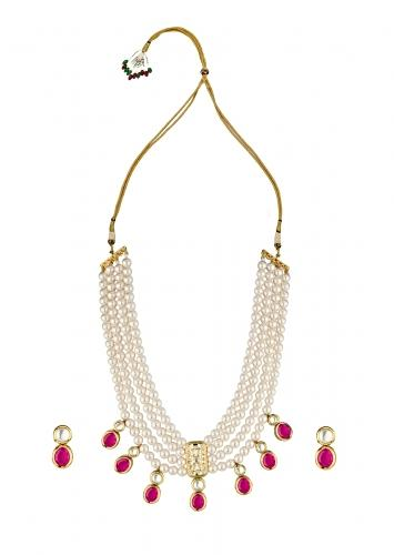 White Shell Pearls Necklace And Earrings Set With Kundan And Red Hydro Onyx Online - Joules By Radhika