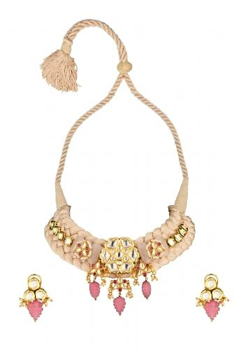 Off White Braided Necklace And Earrings Set With Kundan Pendant And Carved Pink Jade Drops Online - Joules By Radhika
