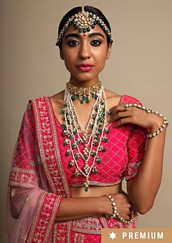 Green Beads Multilayer Necklace With Moti Strings And Attached Polki Choker By Prerto