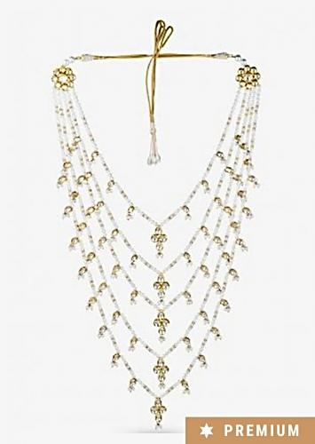Gold Plated Layered Necklace Adorned With Pearls By Prerto