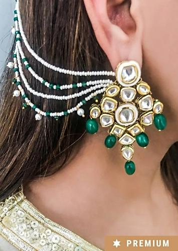 Gold Plated Earrings With Kundan And Green Beads Along With Fancy Hair Chain By Prerto