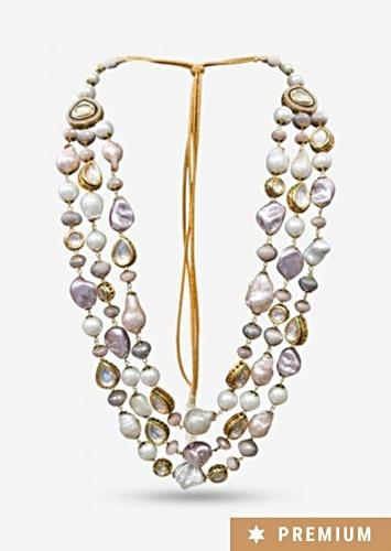 Multi Color Layered Necklace With Pastel Tone Pearls And Kundan That Come Set With Delicate Crystals By Prerto