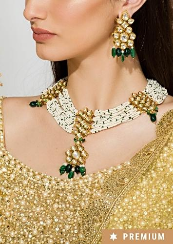 Gold Plated Necklace Strung With Delicate Pearls And Set With Kundan And Green Stones By Prerto