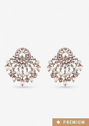 Rose Gold Earrings With Glinting Swarovski Crystals And Semi Precious Stones In Ethnic Design By Prerto