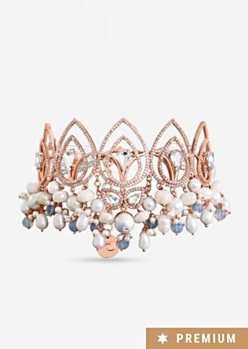 Rose Gold Plated Choker With Gorgeous Semi-Precious Carved Beads, Pearls And Glinting Swarovski By Prerto