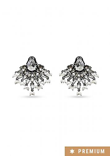 Noir D Studs With Intricate Pearl And Crystal Detailing By Prerto