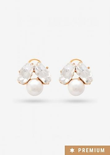 Gold Plated Minimalistic Studs With Crystals And Pearls By Prerto