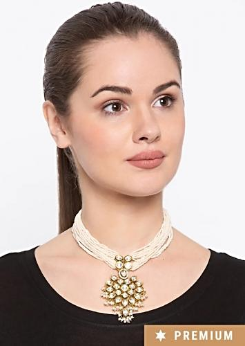 Gold Plated Necklace With Kundan Centrepiece And Pearl Strings By Prerto