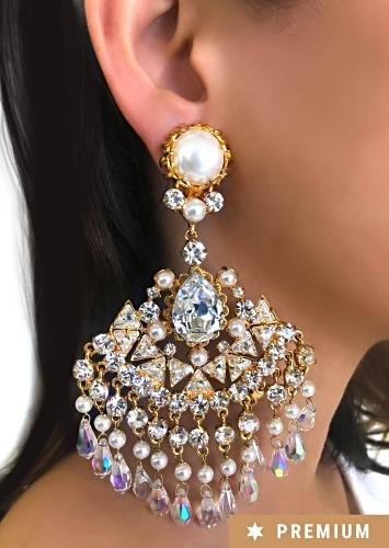 Gold Plated Ethnic Earrings With Communicative Pearls And Dangling Crystals By Prerto
