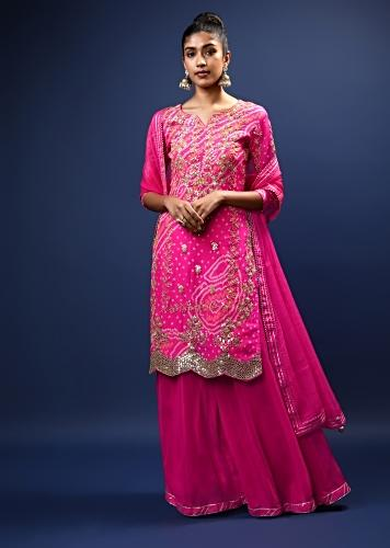 Magenta Palazzo Suit In Georgette With Bandhani Print And Gotta Patti Embroidered Floral Motifs And Scallop Border Online - Kalki Fashion
