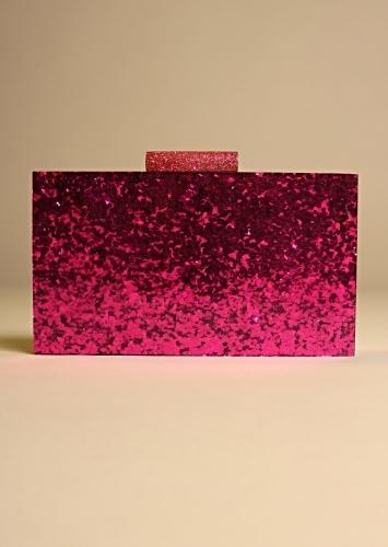 Magenta Pink Box Clutch With Shimmer Glitter All Over Online - Kalki Fashion