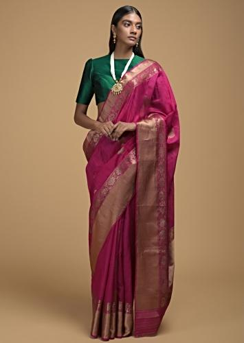 Magenta Pink Pure Handloom Saree In Tussar Silk With Woven Floral Buttis And Border Online - Kalki Fashion