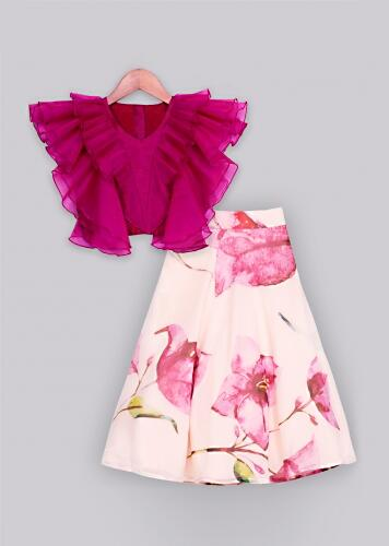 Magenta ruffle top with peach floral printed lehenga Online - Free Sparrow