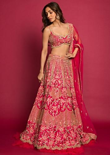 afa924ad75d Malaika Arora in Kalki french pink raw silk heavy embroidered lehenga with  net ruching