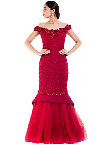 1f6a5a5b9c89 Maroon Fishtail Off Shoulder Gown