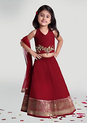Maroon Skirt And Choli Set With Woven Floral Border And Sequins Work On The Choli By Mini Chic