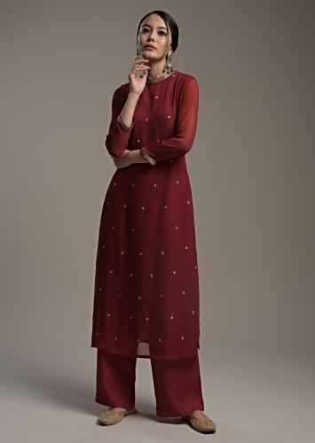 Maroon Straight Cut Suit In Georgette With Sequin Embellished Buttis Online - Kalki Fashion