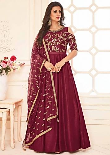 4a26ebcd6e Maroon anarkali suit in raw silk with cold shoulder in zari and kundan  embroidered
