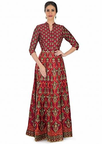 7fb0e960f991 Maroon Cotton Silk Dress Featuring Floral Prints Embellished with Sequins  and Gotta Patch only on Kalki