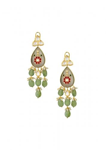 Marvellous Hydro Ruby And Emerald Earrings With Kundan Polki And Jade Drops Online - Joules By Radhika
